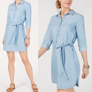 Lucky Brand long sleeve chambray shirt dress